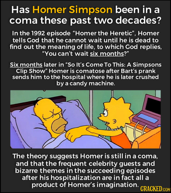 Has Homer Simpson been in a coma these past two decades? In the 1992 episode Homer the Heretic, Homer tells God that he cannot wait until he is dead