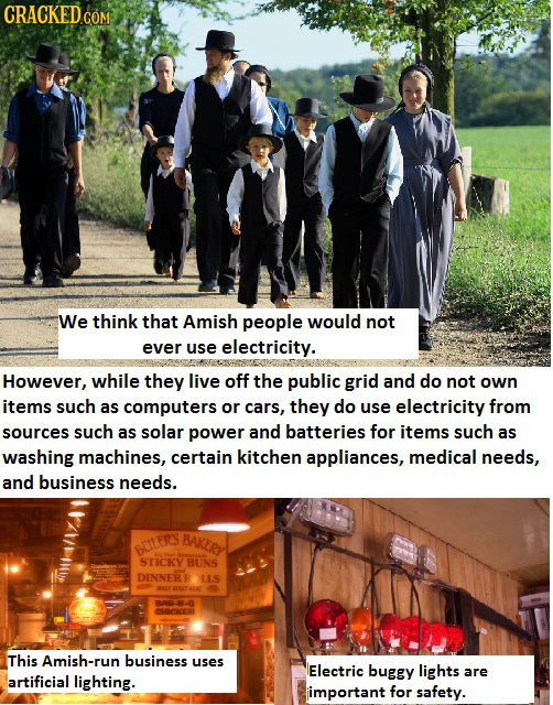 We think that Amish people would not ever use electricity. However, while they live off the public grid and do not own items such as computers or cars
