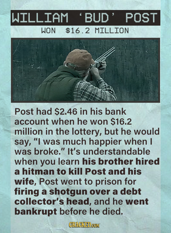 WILLIAM BUD POST WON $16.2 MILLION Post had $2.46 in his bank account when he won $16.2 million in the lottery, but he would say, I was much happier