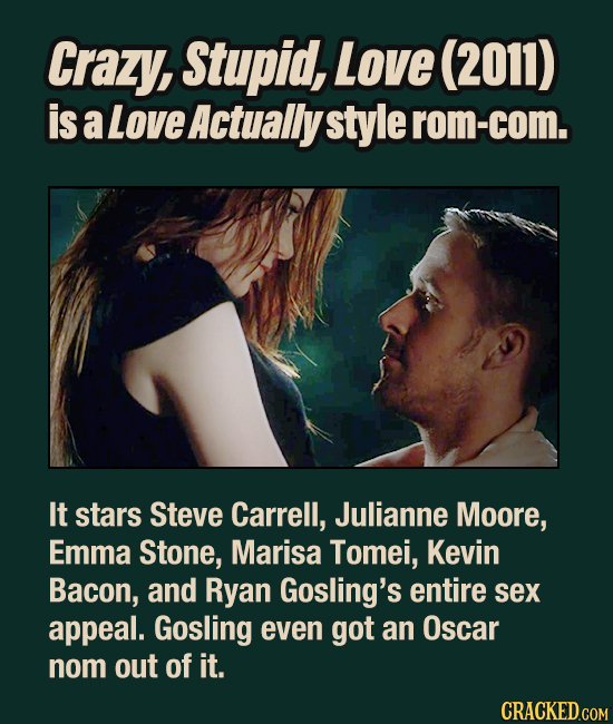Crazy, Stupid, Love (2011) is a Love Actually style rom-com. It stars Steve Carrell, Julianne Moore, Emma Stone, Marisa Tomei, Kevin Bacon, and Ryan G