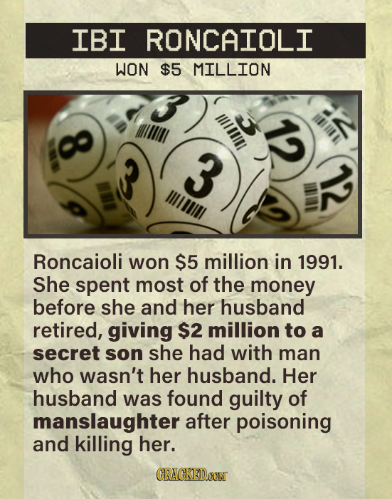 IBI RONCAIOLI WON $5 MILLION lill IAIT 0o 3 IIOILL Roncaioli won $5 million in 1991. She spent most of the money before she and her husband retired, g