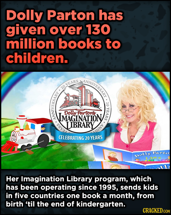 16 Badass, Little-Known Dolly Parton Stories - Dolly Parton has given over 130 million books to children.