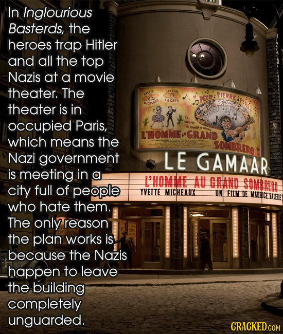 In Inglourious Basterds, the heroes trap Hitler and all the top Nazis at a movie theater. The ICOWIEG PIERRE WWETTE DETI: LA CAVA theater is in aeear