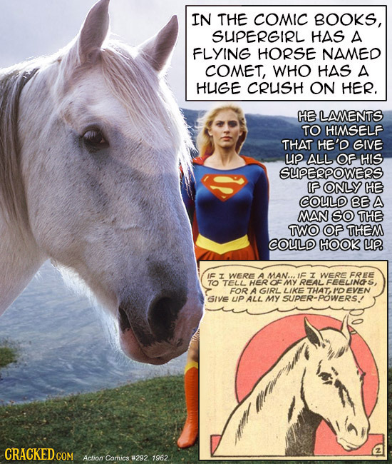IN THE COMIC BOOKS, SUPERGIRL HAS A FLYING HORSE NAMED COMET, WHO HAS A HUGE CRUSH ON HER. HE LAMENTS TO HIMSELF THAT HE'D GIVE UP ALL OF HIS SUPERPOW