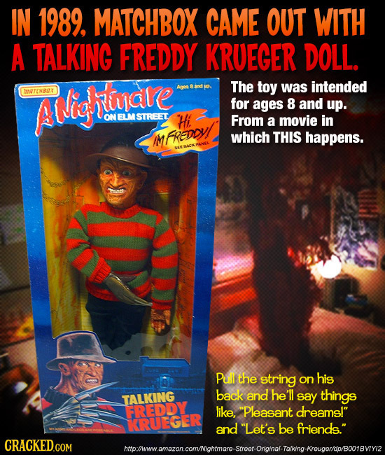 IN 1989. MATCHBOX CAME OUT WITH A TALKING FREDDY KRUECER DOLL. The toy was intended TIATONSOT AMigare for ages 8 and up. ON ELM STREET Hi. From a movi
