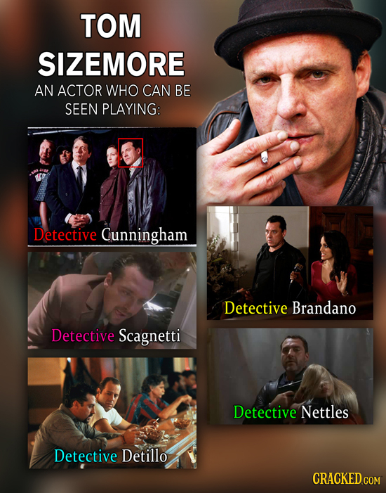 TOM SIZEMORE AN ACTOR WHO CAN BE SEEN PLAYING: Detective Cunningham Detective Brandano Detective Scagnetti Detective Nettles Detective Detillo CRACKED