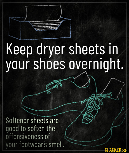 Keep dryer sheets in your shoes overnight. AID Softener sheets are good to soften the offensiveness of your footwear's smell.