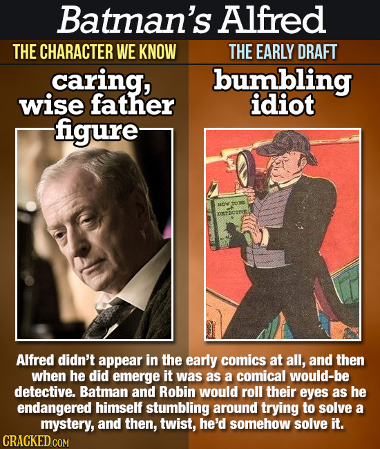 Batman's. Alfred THE CHARACTER WE KNOW THE EARLY DRAFT caring, bumbling wise father idiot figure Alfred didn't appear in the early comics at all, and