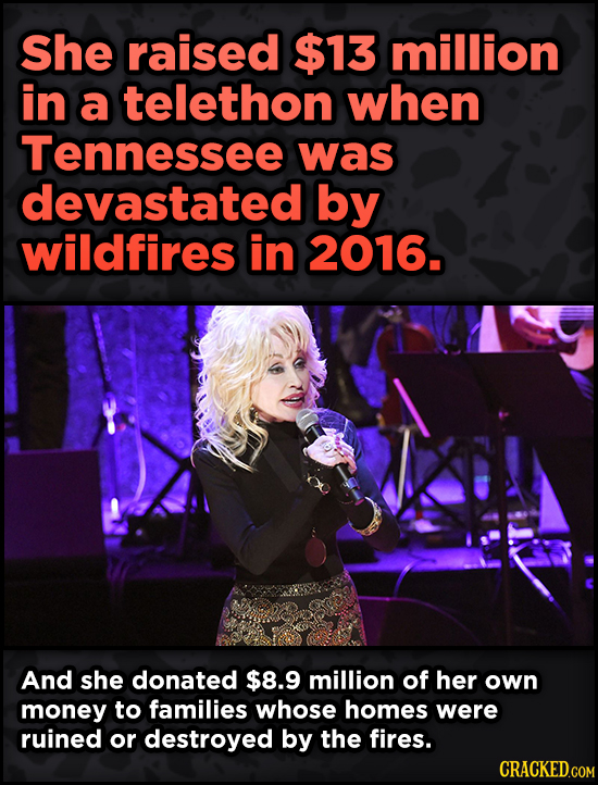 16 Badass, Little-Known Dolly Parton Stories - She raised $13 million in a telethon when Tennessee was devastated by