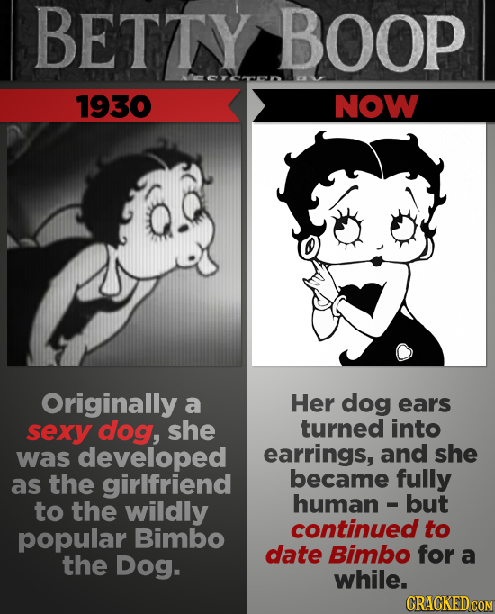 BETTY BOOP 1930 NOW Originally a Her dog ears sexy dog, she turned into was developed earrings, and she the girlfriend became fully as to the wildly h