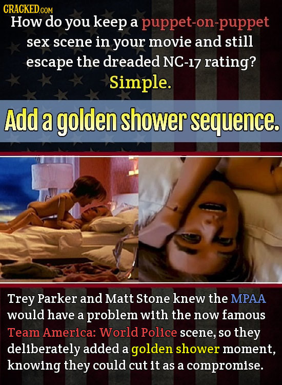 How do you keep a puppet-on-puppet sex scene in your movie and still escape the dreaded NC-17 rating? Simple. Add a golden shower sequence. Trey Parke