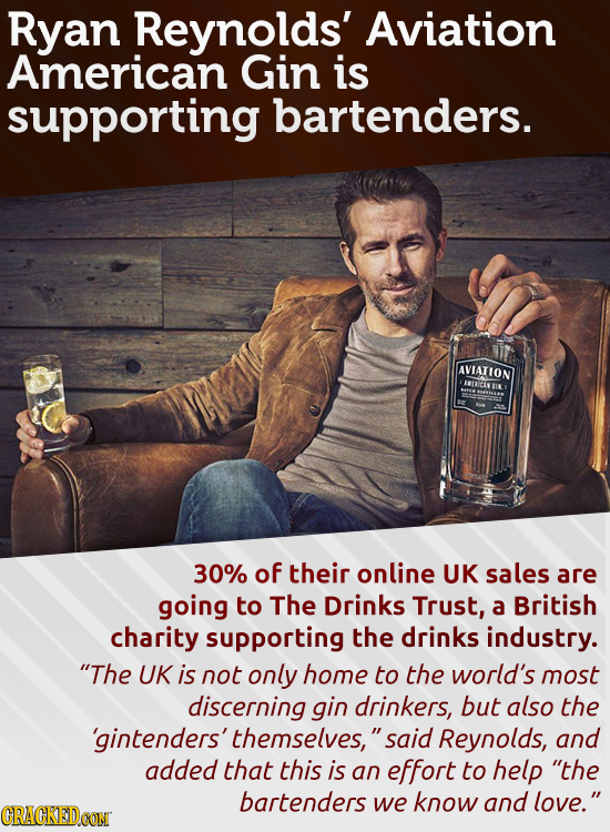 Ryan Reynolds' Aviation American Gin is supporting bartenders. AVIATION IVDDETI 30% of their online UK sales are going to The Drinks Trust, a British