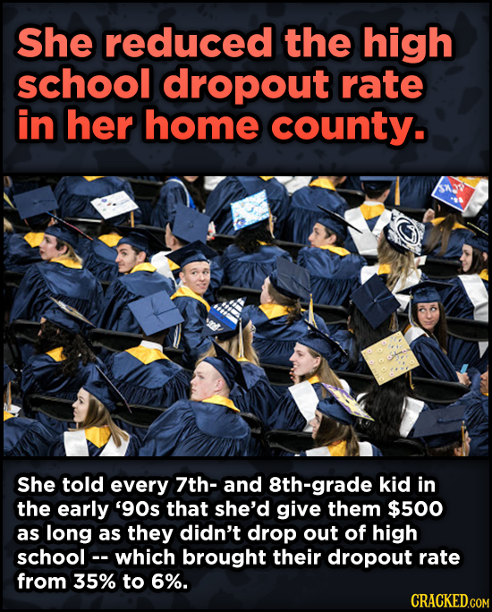 16 Badass, Little-Known Dolly Parton Stories - She reduced the high school dropout rate in her home county. She told every 7th-