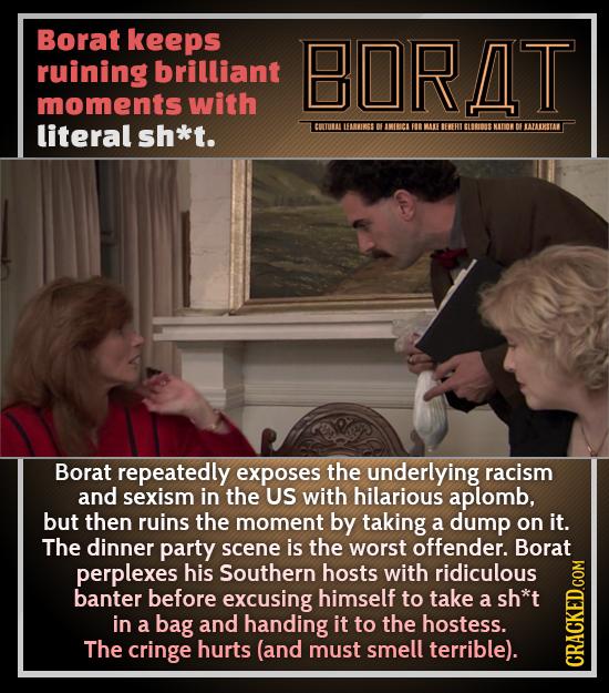 Borat keeps ruining brilliant BORAT moments with literal sh*t. CUTURALLEARWINGS B IIBCI FOR MA BEERT SLOROSS NDORDEATAIKSTA Borat repeatedly exposes t
