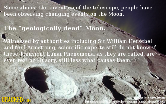 Since almost the invention of the telescope, people have been observing changing events on the Moon. The geologically dead Moon. Witnessed by author
