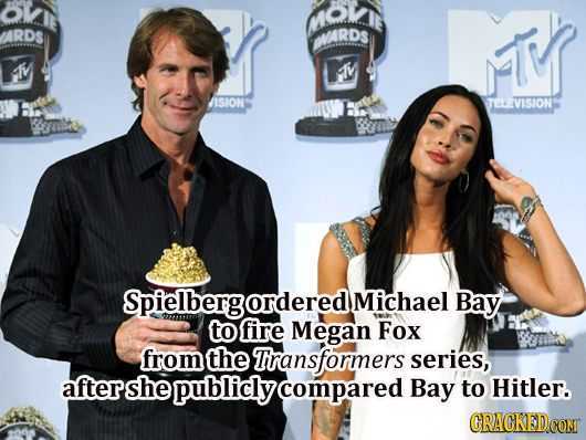 MOK ARDS ARDS M M MM ISION TELEVISION Spielbergordered Michael Bay to fire Megan Fox from the Tiransformers series, aftershe publicly compared Bay to