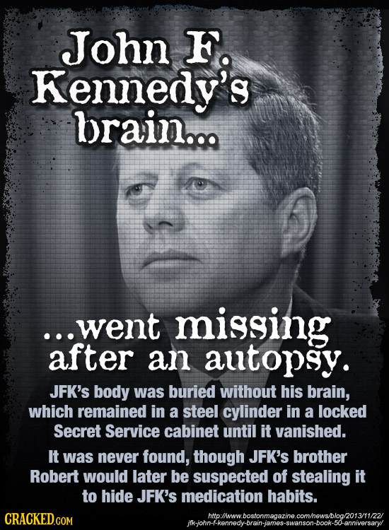 John F Kennedy's brain... went missing after an autopsy. JFK's body was buried without his brain, which remained in a steel cylinder in a locked Secre