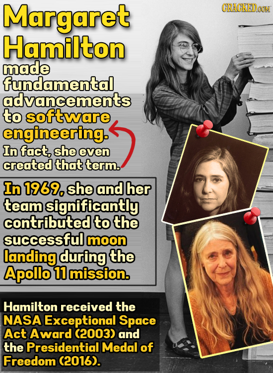 Margaret CRACKEDOON Hamilton made fundamental advancements to software engineering. In fact. she even created that term. In 1969, she and her team sig