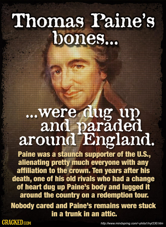 Thomas Paine's bones... ...were dug up and paraded around England. Paine was a staunch supporter of the U.S., alienating pretty much everyone with any