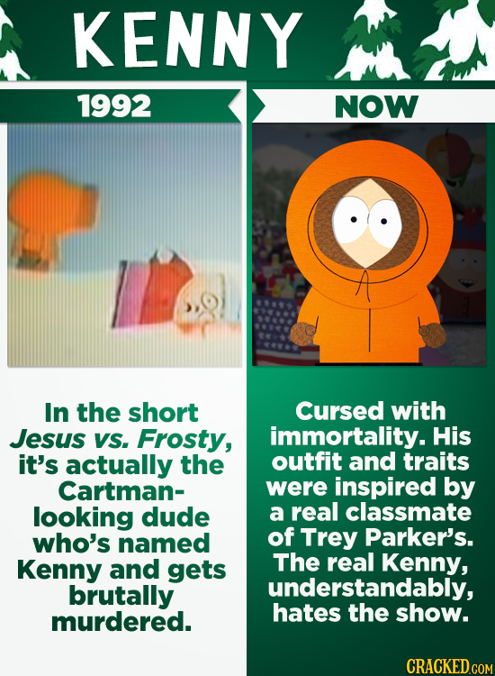 KENNY 1992 NOW In the short Cursed with Jesus VS. Frosty, immortality. His it's actually the outfit and traits Cartman- were inspired by looking dude
