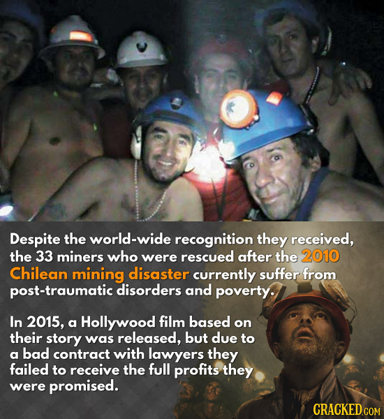 Despite the world-wide recognition they received, the 33 miners who were rescued after the 2010 Chilean mining disaster currently suffer from post-tra