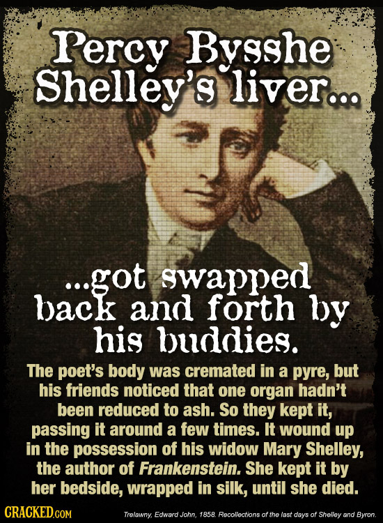 Percy Bysshe Shelley's liver... ...got swapped back and forth by his buddies. The poet's body was cremated in a pyre, but his friends noticed that one