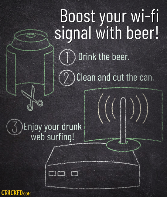 Boost your wi-fi signal with beer! Drink the beer. 2 Clean and cut the can. 3Enjoy Enjoy your drunk web surfing!
