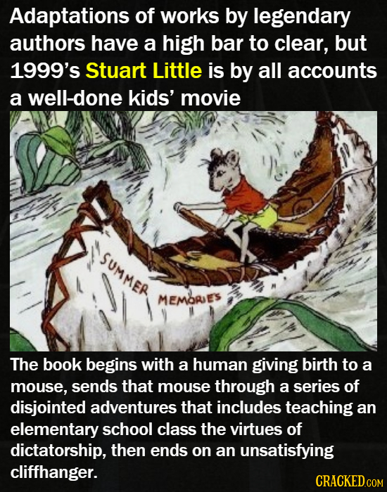 Adaptations of works by legendary authors have a high bar to clear, but 1999's Stuart Little is by all accounts a well-done kids' movie SUMMER MEMORE'