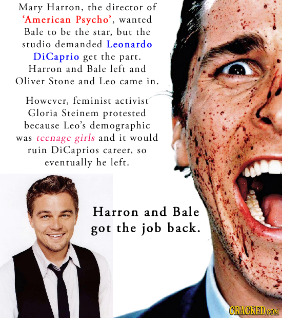 Mary Harron, the director of 'American Psycho', wanted Bale to be the star, but the studio demanded Leonardo DiCaprio get the part. Harron and Bale le