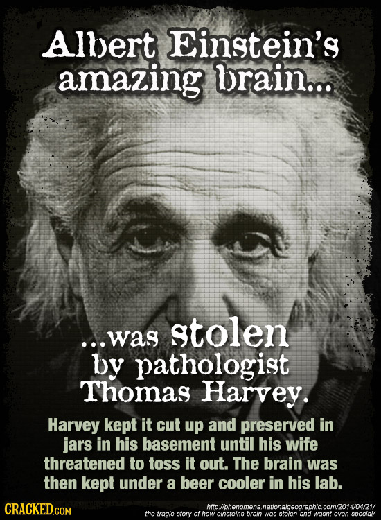 Allert Einstein's amazing brain... stolen ...was by pathologist Thomas Harvey. Harvey kept it cut up and preserved in jars in his basement until his w