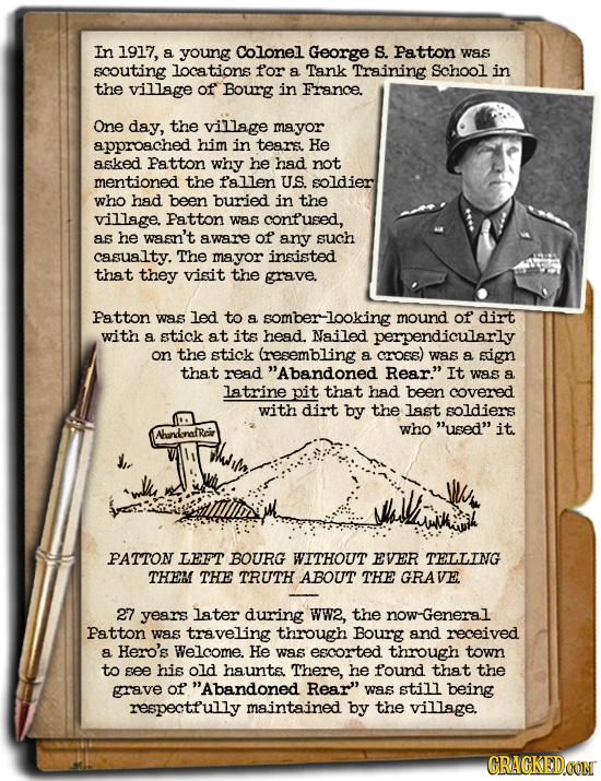 In 1917, a young Colonel George S. Patton was scouting locations for a Tank Training School in the village of Bourg in France. One day, the village ma