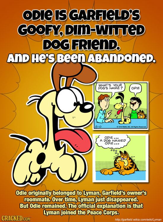 ODIE Is GARFIELD'S GOOFY, DIM-WIITTED DOG FRiend. ANd HE'S been ABANDONED. WHAT'S YOUR DOG'S NAME OPIE B-10 C ODIE. A DOG NAMED ODIE... Odie originall