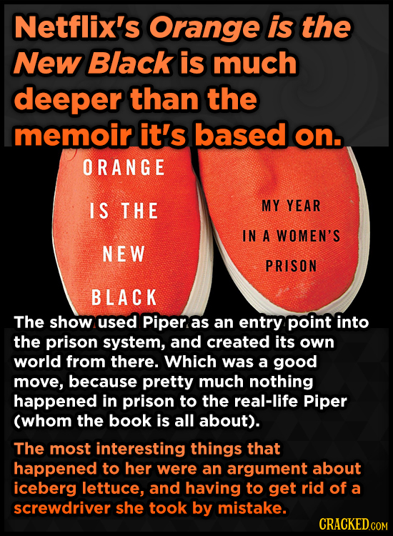 Netflix's Orange is the New Black is much deeper than the memoir it's based on. ORANGE IS THE MY YEAR IN A WOMEN'S NEW PRISON BLACK The show used Pipe