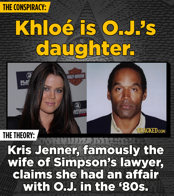 THE CONSPIRACY: Khloe is O.J.'s daughter. THE THEORY: Kris Jenner, famously the wife of Simpson's lawyer, claims she had an affair with O.J. in the '8