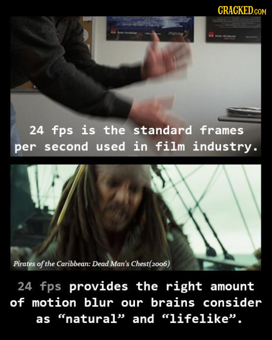 24 fps is the standard frames per second used in film industry. Pirates of the Caribbean: Dead man's Chest(2006) 24 fps provides the right amount of m