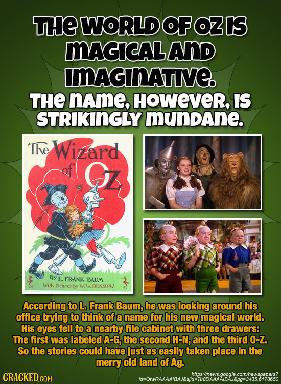 THEWORLDOFOZIS MAGICAL AND IMAGINATE THE name, HOWever, IS STRIKINGLY mundane. The Winard G5z By L. FRANK BAUM Wifh Pictures by DENSIOW According to L