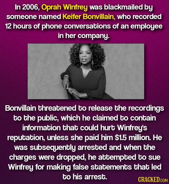 In 2006, Oprah Winfrey was blackmailed by someone named Keifer Bonvillain, who recorded 12 hours of phone conversations of an employee in her company.