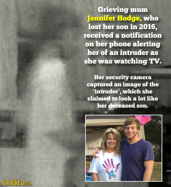 Grieving mum Jennifer Hodge, who lost her son in 2016, received a notification on her phone alerting her of an intruder as she was watching TV. Her se