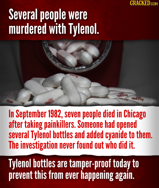 Several people were murdered with Tylenol. 04 In September 1982, seven people died in Chicago after taking painkillers. Someone had opened