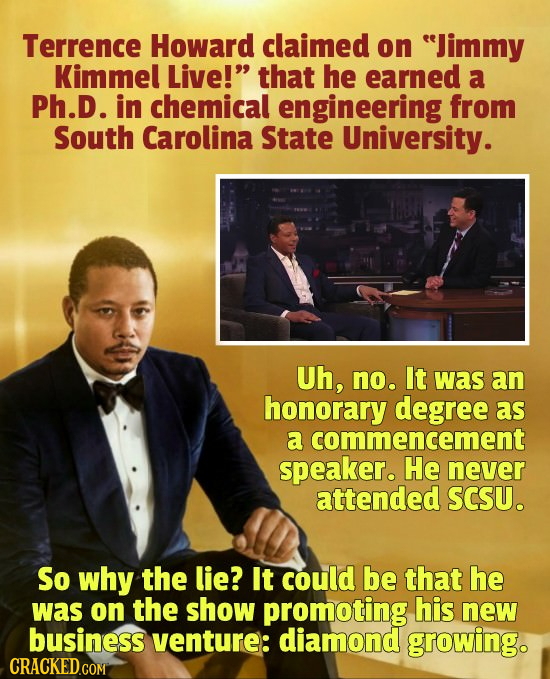 Terrence Howard claimed on Jimmy Kimmel Live! that he earned a Ph.D. in chemical engineering from South Carolina State University. Uh, no. It was an