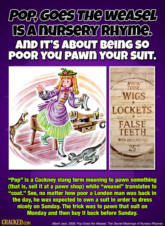 POP, GOES THE WEASEL IS A nurserY RHYME And IT'S ABOUT BEING SO POOR YoU PAWN YOUR SUIT. HOCK YOUR.. WIGS LOCKETS G FALSE TEETH WITH GOLD FILIMS 25%