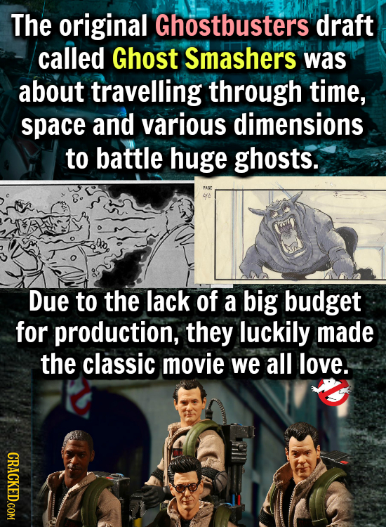 The original Ghostbusters draft called Ghost Smashers was about travelling through time, space and various dimensions to battle huge ghosts. FURE Due