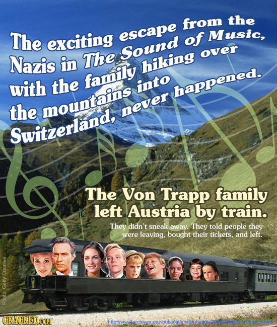 from the The exciting escape of Music, Sound Nazis in The over hiking with the family into happened. the mountains never Switzerland, The Von Trapp fa