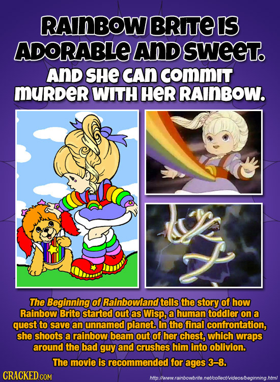 RAINBOW BRITE IS ADORABLE ANd SWEET. AND SHE CAN COMMIT murder WITH HER RAINBOW. The Beginning of Rainbowland tells the story of how Rainbow Brite sta