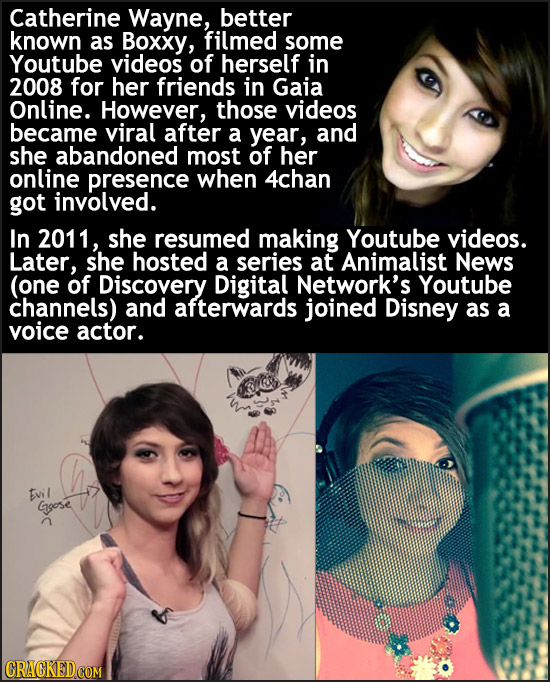 Catherine Wayne, better known as Boxxy, filmed some Youtube videos of herself in 2008 for her friends in Gaia Online. However, those videos became vir