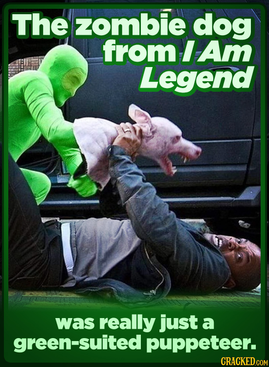 The zombie dog from I Am Legend was really just a green-suited puppeteer. CRACKED COM