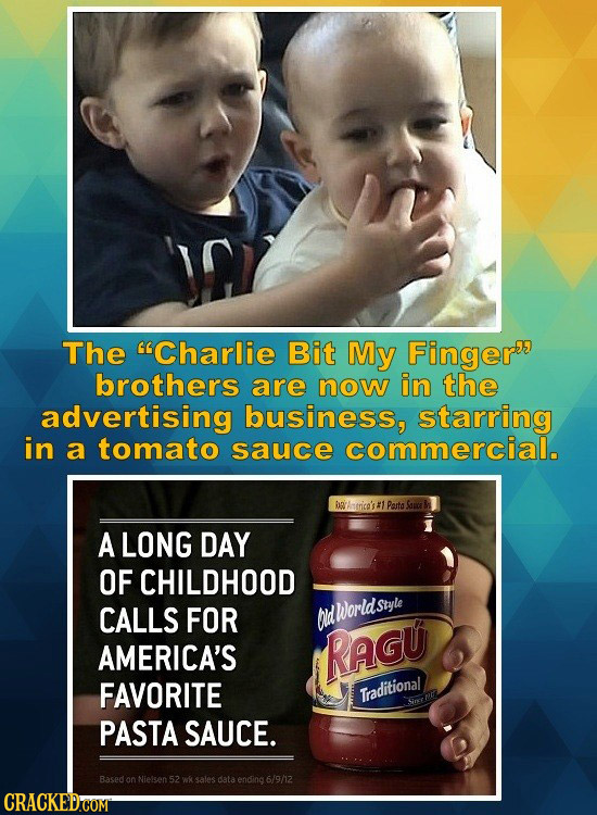 The Charlie Bit My Finger brothers are now in the advertising business, starring in a tomato sauce commercial. thtrice's #1 Pasta Sar A LONG DAY OF