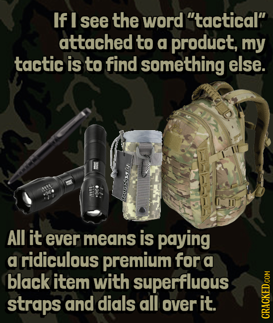 If I see the word tactical attached to a product, my tactic is to find something else. XWWV iiii: All it ever means is paying a ridiculous premium f
