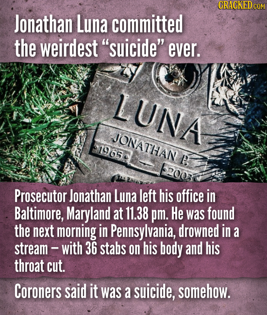 Jonathan Luna committed the weirdest suicide ever. Prosecutor Jonathan Luna left his office in Baltimore, Maryland