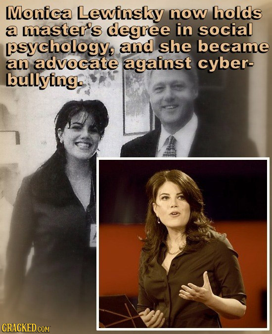 Monica Lewinsky now holds a master's degree in social psychology, and she became an advocate against cyber- bullying